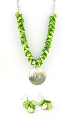 """Product # JN0496-0300  Green Fringe Shell Necklace and Earring Set 17-21""""   $29.00"""