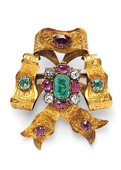 Antique Gold Gem-set Bow Brooch, set with foil-back emeralds and rubies, with old mine-cut diamonds, lg. 1 5/8 in.