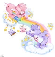 Care Bears: Cheer Bear and Share Bear Unrolling a Rainbow