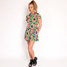 Ark Pink Miki Tropical Cut Out Playsuit #tropical #playsuit #coords