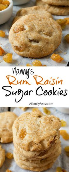 Nanny's Rum Raisin Sugar Cookies | www.afamilyfeast.com | A delicious twist on the classic sugar cookie.  Chewy in the middle and crunchy on top and loaded with golden raisins.