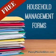 Free Household management forms for shopping lists, menu plan and even cleaning checklists!!