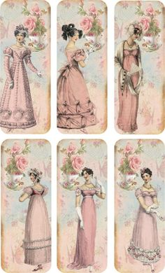 Vintage Inspired Bookmarks Jane Austen with Silk Ribbons Set of 6 Tea Time | eBay