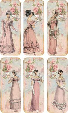 Vintage inspirado favoritos Jane Austen Com Fitas De Seda