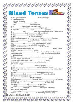 Mixed tenses, 2 pages (key included)