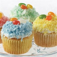 For a fun Easter activity, set out baked cupcakes, bags of tinted coconut and assorted candies. Kids of all ages will have lots of fun decorating the cupcakes.