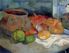 Still life with onions, beetroot and Japanese Print (1889) - Paul Gauguin
