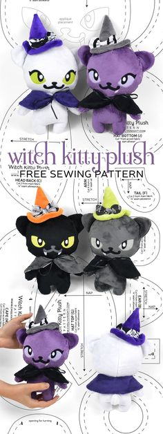 Free PDF pattern download for this witch kitty plush!