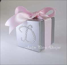 Personalized Favor Boxes Pink And Silver by JaclynPetersDesigns