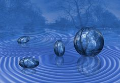 ボール, フォーム, 水, シュール, アート, Fotoart, 打撃, パターン, 青, 背景