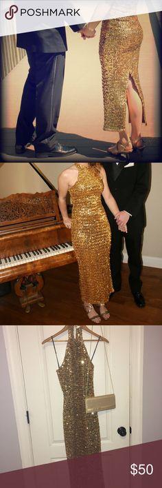 VINTAGE GOLD PROM DRESS ❤️ includes purse :) Dresses Prom