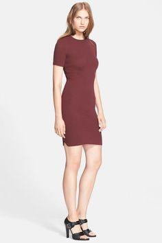 NWT Alexander Wang Main Line Oxblood Shrunken Knit Sweater T-Shirt Dress L $695 #AlexanderWang #SweaterDress #Casual