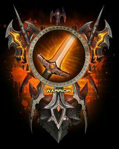 World of Warcraft Class Warrior Emblem Banner Flag Fan Art Poster Print World Of Warcraft Game, Warcraft Art, Wow Rogue, Clock Tattoo Design, Wow World, Blood Elf, Wow Art, Fantasy Rpg, Character Creation