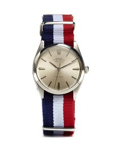Classic Rolex Air King with a preppy Nato strap... great combo! Via US GQ. The GQ Guide to Men's Watches: Style: GQ