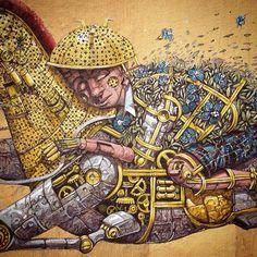 "Pixelpancho ""Riding Dreams"" Mural in Dunedin (New Zealand)"