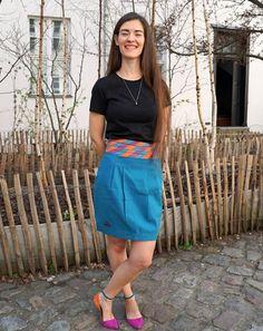 Fun and bright colours worn by fashion designer Justine Leconte 🧡💜💙