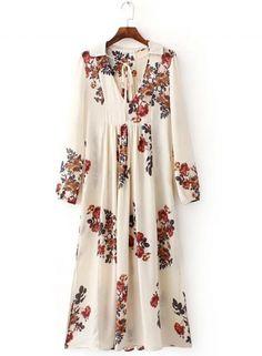 Women's Casual Floral Print Side Split Loose Maxi Dress OASAP.com