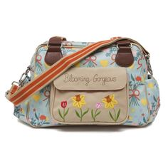 The chosen diaper bag: Pink Lining Blooming Gorgeous Blue Bouquet