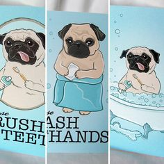 Fawn Pug Bathroom Prints - 5x7 Eco-friendly Set