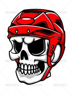 Buy Skull in Hockey Helmet by VectorTradition on GraphicRiver. Skull in hockey helmet for sport team mascot design. Editable and JPEG (can edit in any vector and graphic edito. Hockey Helmet, Hockey Goalie, Hockey Logos, Hockey Tattoos, Helmet Tattoo, Team Mascots, Mascot Design, Helmet Design, Best Logo Design