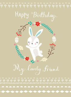 Louise Anglicas - LAS Woodland Bunny My Lovely Friend Birthday Flower Font