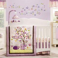 KidsLine Dena Owl Blossom 4 Piece Crib Bedding Set