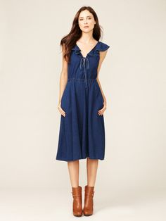 Marc by Marc Jacobs Lightweight Denim Ruffle Dress