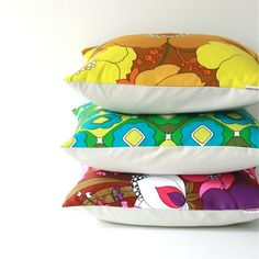 Retro cushion covers made from original vintage 70's fabrics - Love!