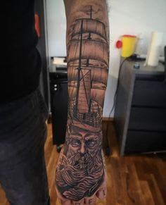 """Bayside Ink on Instagram: """"In Andenken an den Papa. Gestochen von unserem Flo @flo_tattoo danke @dom.man1981 fürs vertrauen🙏 #baysideink #bayside #ink #badrappenau…"""" Poseidon Tattoo, Dom, Sleeve Tattoos, Instagram, Ideas, Keepsakes, Confidence, Thanks, Tattoo Sleeves"""
