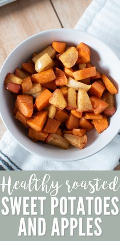 Try this oven roasted sweet potatoes and apples recipe, perfect for fall! With no honey or maple syrup, this recipe is 100% healthy and naturally sweet. You'll love how easy it is to make this easy cinnamon roasted sweet potatoes and apples recipe with only 4 ingredients. #easyrecipes #healthyrecipes #sweetpotatoes #bakedsweetpotatoes #thanksgiving #sidedish #fallrecipe Steak Side Dishes, Side Dishes For Chicken, Rice Side Dishes, Healthy Side Dishes, Vegetable Side Dishes, Side Dishes Easy, Sweet Potato Oven, Oven Roasted Sweet Potatoes, Sweet Potato And Apple