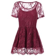 Wholesale Plus Size Floral Lace Peplum Blouse 4xl Wine Red Online. Cheap Plus Size Blouse And Plus Size Bikini Top on Rosewholesale.com