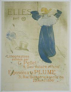Henri de Toulouse-Lautrec | Frontispice pour Elles, Henri de Toulouse-Lautrec, Gustave Pellet, 1895 | Een staande vrouw, op de rug gezien, is bezig met haar kapsel. Haar lange jurk valt tot op de grond. De kamer, met een rondslingerende strik en herenhoed, is slechts met enkele lijnen aangegeven. De tekst in het beeldvlak geeft aan dat dit de titelprent is van de serie 'Elles', een reeks portretten van prostituées die Henri de Toulouse-Lautrec maakte in 1895.