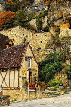 Mountain village in Rougon, Alpes-de-Haute-Provence, France. (****See Pin showing just the the small building's front.)
