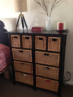 Updated A Tired Wicker Dresser With A Modern Black Finish