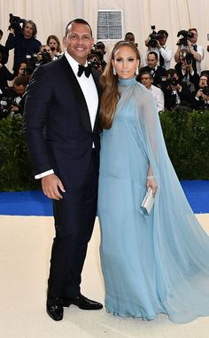 Jennifer Lopez in Valentino and Alex Rodriguez from 2017 Met Gala: Red Carpet Couples  J-Rod are finally red carpet official!