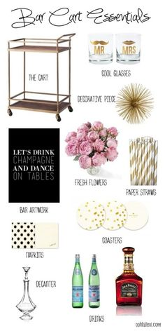 wondering what to stock your bar cart with? check out this list of essentials ! i agree your bar cart needs cool glasses, bar art and liquor Diy Bar Cart, Gold Bar Cart, Bar Cart Styling, Bar Cart Decor, Bar Carts, Ikea Bar Cart, Mini Bars, Bandeja Bar, Bar Cart Essentials