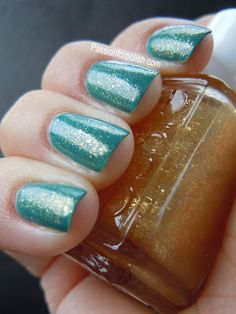 Essie's As Gold as it Gets layered over teal