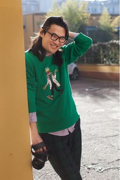 Kermit the Frog Sweater.  Can we just get an entire line of these by Marc Jacobs?  Kermit, Fozzie, Animal and Ninja Miss Piggy!     http://www.flickr.com/photos/ginaselim/6426110443/