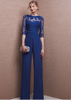 Blue Chiffon Wedding Evening Dresses Jumpsuits Mother Of the Bride Formal Gowns , Bridesmaid Dresses, Prom Dresses, Formal Dresses, Jumpsuit Dress, Dress Up, Vestidos Color Azul, Royal Blue Pants, Style Haute Couture, Chiffon