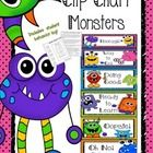 """$""""Monsters"""" - themed Behavior Clip Chart -  This clip chart is a wonderful behavior management tool. Children start off with their clips (clothespi..."""