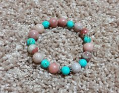 Pink Lepidolite, Amethyst Turquoise Magnesite, Silver Spacers Beaded Stretchy Bracelet by MamaPajamaJan on Etsy