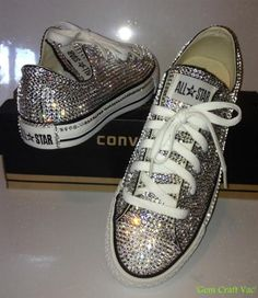 Super Cool Converse Blinged Out! @Michelle Flynn Allen If lee wants to be outrageous.... tell him i will do him some of these for the wedding party!! lol xx