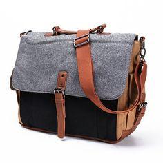 Tri Color Canvas Messenger Bag in Black/Grey