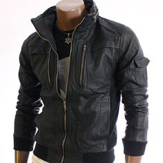 Youstars Mens Wiredcollar Leather Jacket Black 1213 | eBay