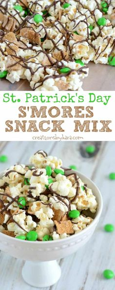 This St. Patricks Day Smores Snack Mix is easy to make, and so yummy! With marshmallows, chocolate and graham cereal, it is sure to be a hit! Patrick's Day S'more Snack Mix - Creations by Kara St Patrick Day Snacks, St Patricks Day Food, Oreo Dessert, Dessert Ideas, Dessert Recipes, Mini Desserts, Irish Desserts, Sweet Desserts, Holiday Treats