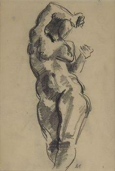 BJARNE NESS TRONDHEIM 1902 - PARIS 1927  Aktstudie Blyant på papir, 20x14 cm (papirmål) Initialsignert nede til høyre: B.N.