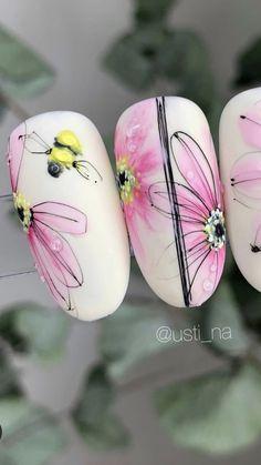 Fall Acrylic Nails, Fall Nail Art, Nail Art Designs Videos, Nail Designs, Pastel Pink Nails, Water Color Nails, May Nails, Nail Stencils, Gold Glitter Nails
