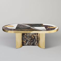 """Half Moon"" Marble and Brass or Gold-Plated Dining Table Designed by Lara Bohinc For Sale at 1stdibs"