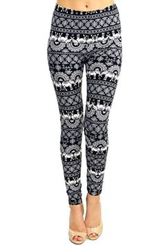 Only your wallet will know these are not LulaRoe Leggings - High Quality Printed Leggings (Black White Elephant Sun) ...