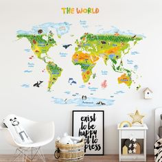 Wall stencils for kids room ideas to divide a bedroom check more animal world map wall stickers xlarge gumiabroncs Choice Image